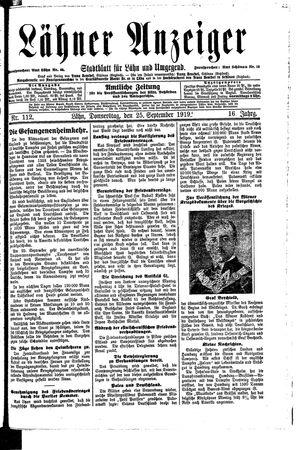Lähner Anzeiger vom 25.09.1919