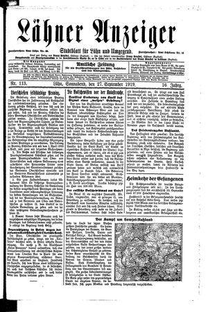 Lähner Anzeiger vom 27.09.1919