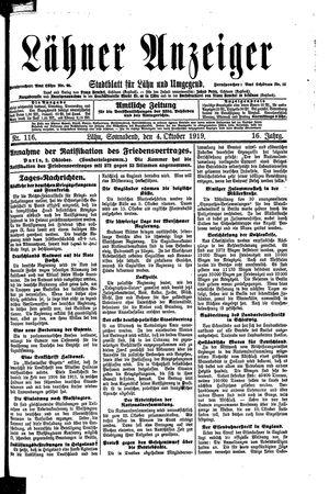Lähner Anzeiger vom 04.10.1919
