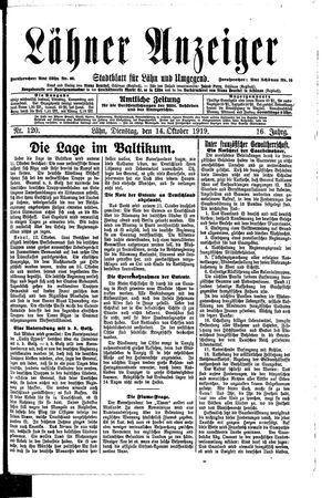 Lähner Anzeiger vom 14.10.1919