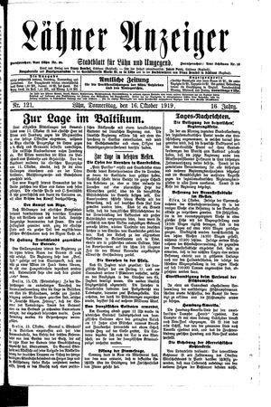 Lähner Anzeiger vom 16.10.1919