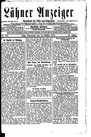Lähner Anzeiger vom 18.10.1919