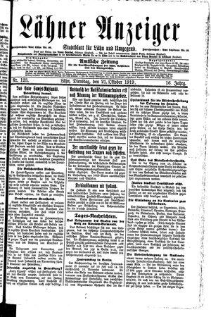 Lähner Anzeiger vom 21.10.1919