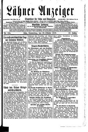 Lähner Anzeiger vom 23.10.1919