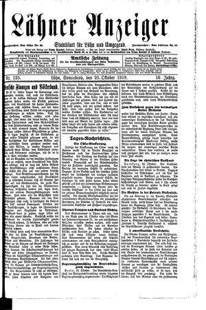 Lähner Anzeiger vom 25.10.1919