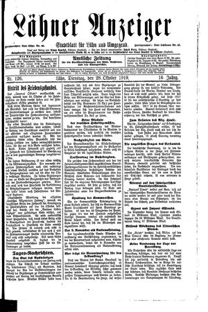 Lähner Anzeiger vom 28.10.1919