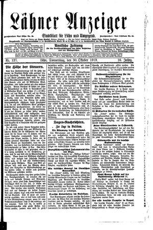 Lähner Anzeiger vom 30.10.1919