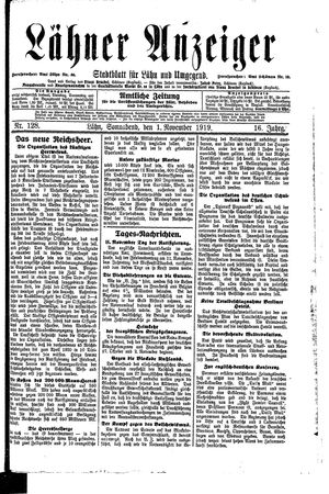 Lähner Anzeiger vom 01.11.1919