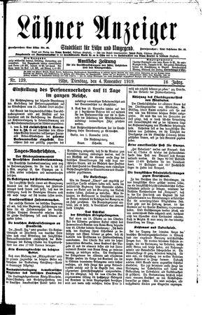 Lähner Anzeiger vom 04.11.1919