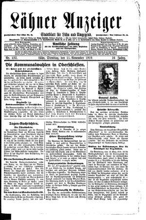 Lähner Anzeiger vom 11.11.1919