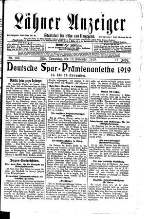 Lähner Anzeiger vom 13.11.1919