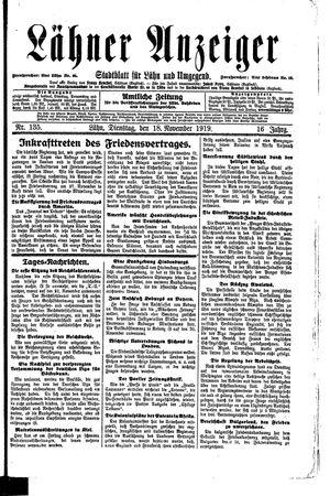 Lähner Anzeiger vom 18.11.1919