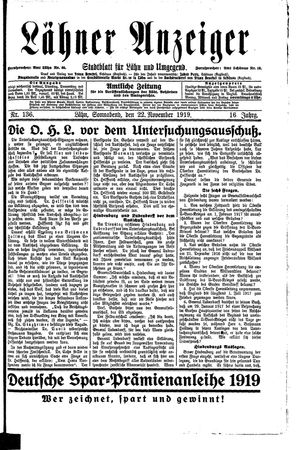 Lähner Anzeiger vom 22.11.1919