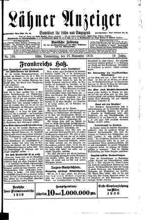 Lähner Anzeiger vom 27.11.1919