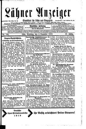 Lähner Anzeiger vom 02.12.1919