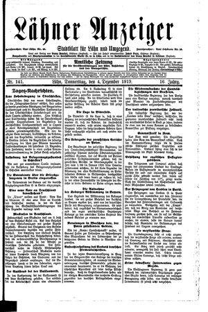 Lähner Anzeiger vom 04.12.1919