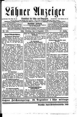 Lähner Anzeiger vom 09.12.1919