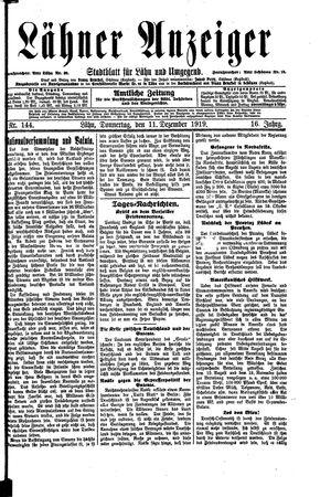 Lähner Anzeiger vom 11.12.1919