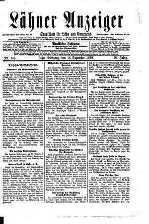 Lähner Anzeiger vom 16.12.1919