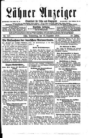 Lähner Anzeiger vom 18.12.1919