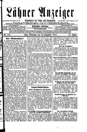 Lähner Anzeiger vom 24.12.1919