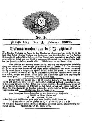 M on Feb 1, 1839