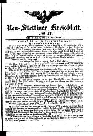 Neustettiner Kreisblatt vom 29.04.1863