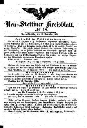 Neustettiner Kreisblatt vom 19.11.1864