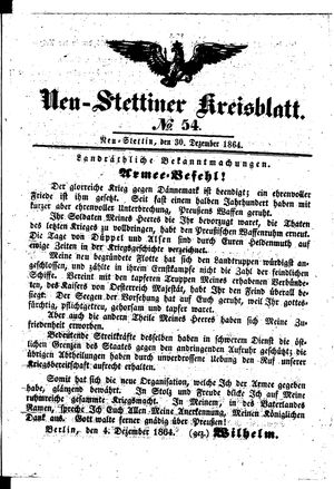 Neustettiner Kreisblatt on Dec 30, 1864