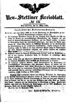 Neustettiner Kreisblatt vom 31.03.1865