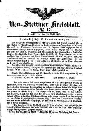 Neustettiner Kreisblatt vom 28.04.1865
