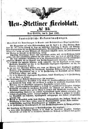 Neustettiner Kreisblatt vom 09.06.1865
