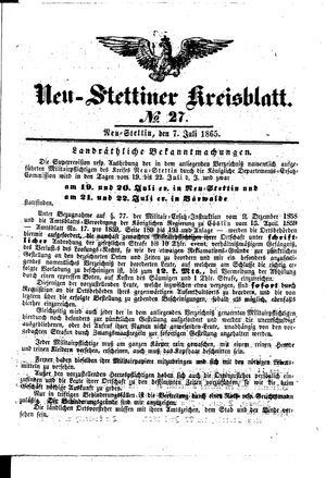 Neustettiner Kreisblatt vom 07.07.1865
