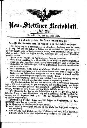 Neustettiner Kreisblatt vom 21.07.1865