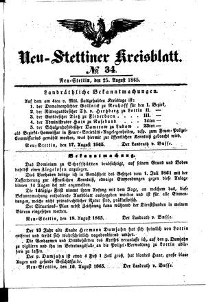 Neustettiner Kreisblatt vom 25.08.1865