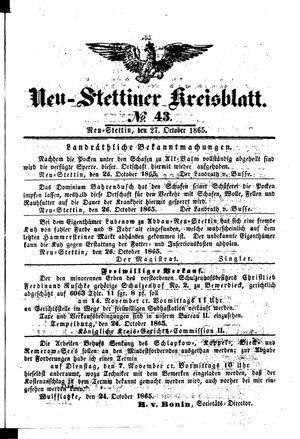 Neustettiner Kreisblatt on Oct 27, 1865