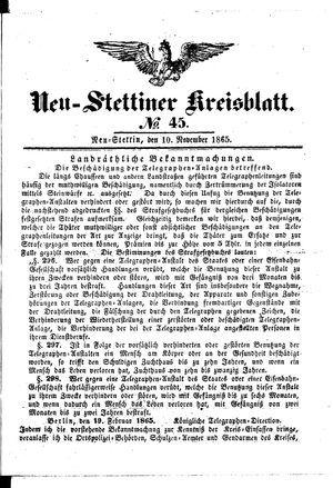 Neustettiner Kreisblatt vom 10.11.1865