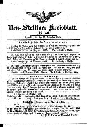 Neustettiner Kreisblatt vom 17.11.1865