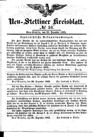 Neustettiner Kreisblatt vom 22.12.1865