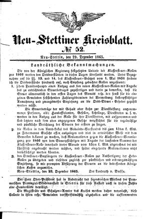 Neustettiner Kreisblatt vom 29.12.1865