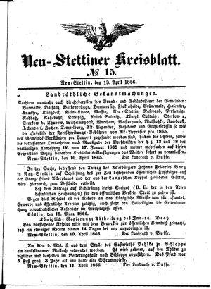 Neustettiner Kreisblatt vom 13.04.1866