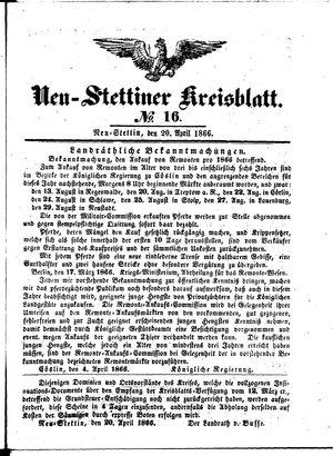 Neustettiner Kreisblatt vom 20.04.1866