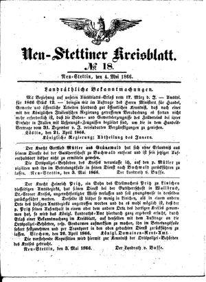 Neustettiner Kreisblatt on May 4, 1866