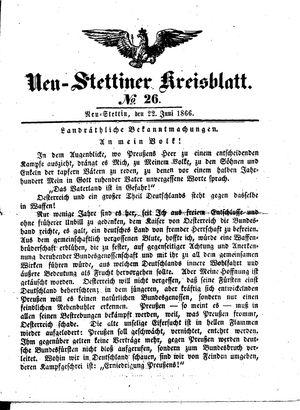 Neustettiner Kreisblatt vom 22.06.1866