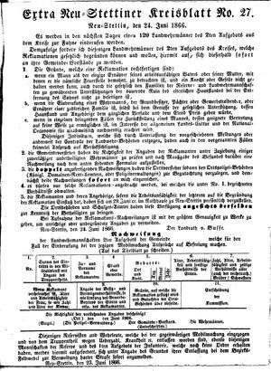 Neustettiner Kreisblatt vom 24.06.1866