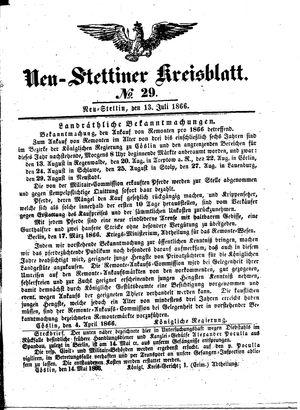 Neustettiner Kreisblatt vom 13.07.1866