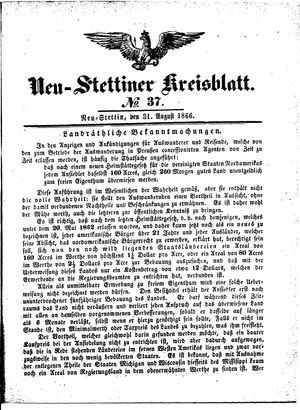 Neustettiner Kreisblatt vom 31.08.1866
