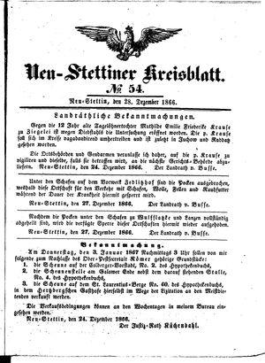 Neustettiner Kreisblatt on Dec 28, 1866