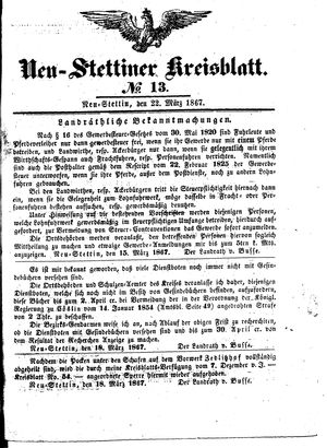 Neustettiner Kreisblatt vom 22.03.1867