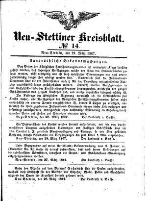 Neustettiner Kreisblatt vom 29.03.1867